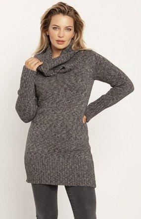 MKM SWE252 długi sweter z golfem grafitowy
