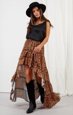Asymetryczna sukienka z falbaną LG544/D21