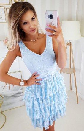 Elegancka sukienka z koronką błękitna 2211-15