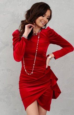 Wieczorowa sukienka z bufkami czerwona 270