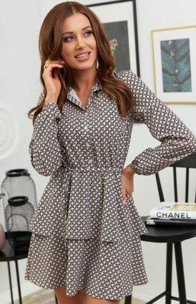 Modna sukienka mini z guziczkami przy dekolcie wz1
