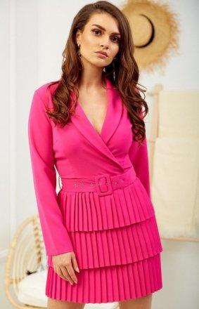 *Kopertowa sukienka z plisowaniem różowa