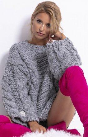 *Ciepły sweter z wełny i alpaki szary F780