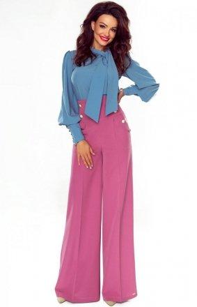Eleganckie spodnie z szerokimi nogawkami wrzosowe