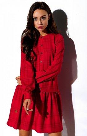 Koszulowa sukienka czerwona w kratę L311/D5
