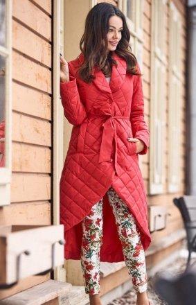 Pikowany asymetryczny płaszcz damski czerwony