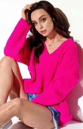 Ażurowy oversizowy sweter różowy LS281