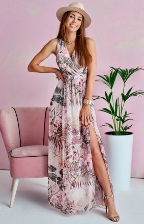 Szyfonowa długa sukienka letnia kolorowa 0209 U65