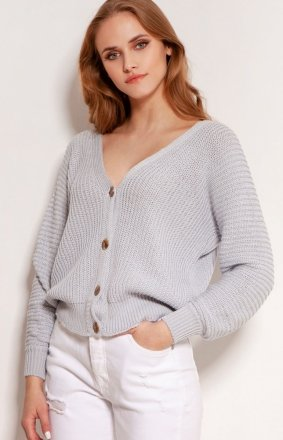 Lekki zapinany sweterek szary Lanti SWE142