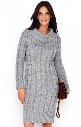 Sweterkowa sukienka z golfem szara S68