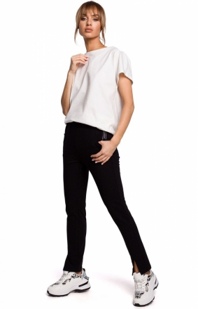 Dresowe spodnie z rozporkami czarne M493