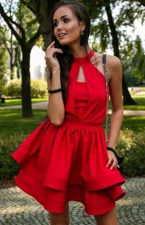 Rozkloszowana sukienka z falbanami czerwona 0202