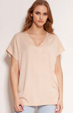 Wiskozowy t-shirt w serek beżowy BLU151
