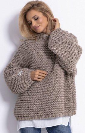 *Ciepły sweter alpaka mocca F790