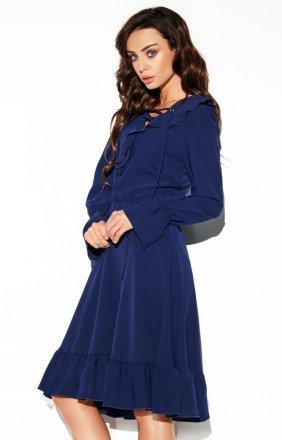 Rozkloszowana sukienka z wiązaniem granatowa L313