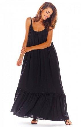 Zwiewna czarna sukienka letnia maxi A307
