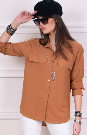 Modna koszula damska karmelowa 0050