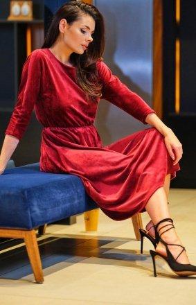 Welurowa sukienka midi bordowa A407