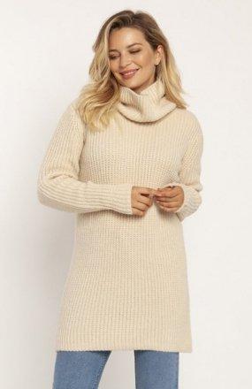 MKM SWE254 długi sweter z golfem beżowy