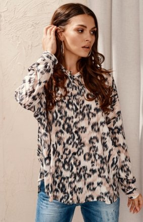 Oversizowa koszula damska print 0128 L17