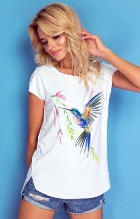 Bluzka z krótkim rękawem z kolorowym ptakiem K335