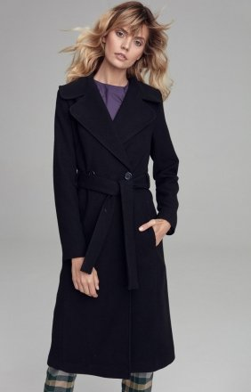 Wiązany płaszcz Nife czarny cpl02