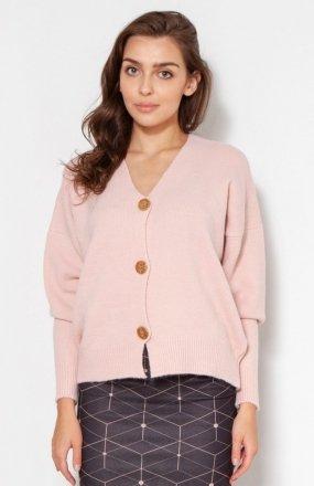 Sweter na duże guziki róż SWE131