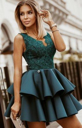 Rozkloszowana sukienka z pianką zielona 2122-13