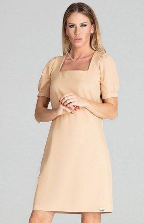Sukienka w kratę Figl M704 beżowa