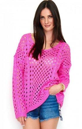 *Ażurkowy sweter neonowy różowy S59