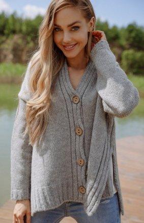 Oversizowy sweter z guzikami szary LS344