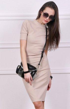 Sukienka z półgolfem beżowa Roco 0235