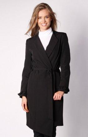Wiązany asymetryczny płaszcz czarny NA035LP