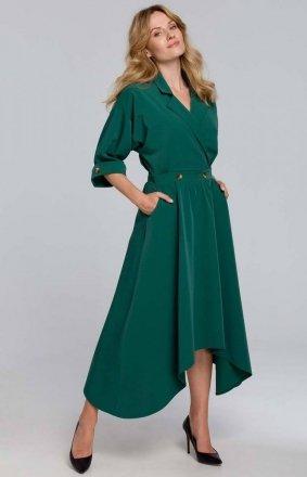 Asymetryczna długa sukienka zielona K086