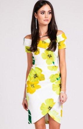 Ołówkowa sukienka w żółte kwiaty 248
