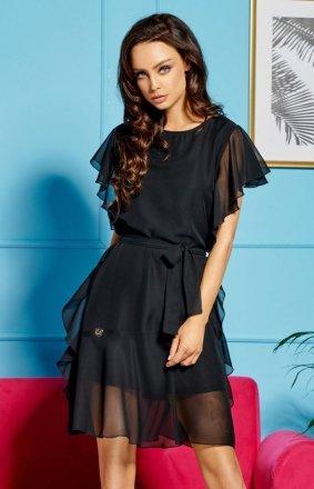 Zwiewna sukienka z falbankami czarna L303