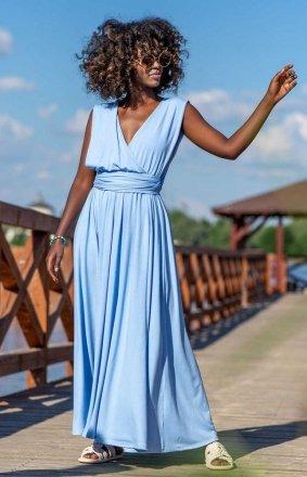 Letnia sukienka maxi błękitna F1252