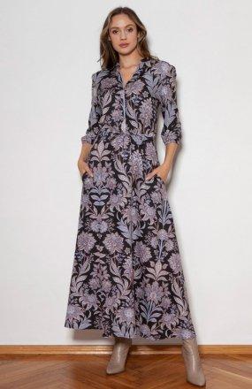Długa sukienka z rękawem 3/4 i troczkiem wzór kwiaty SUK205