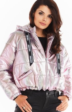 Pikowana kurtka holo pink Awama A388