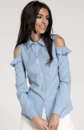 Elegancka koszula z wyciętymi ramionami błękitna NA1014