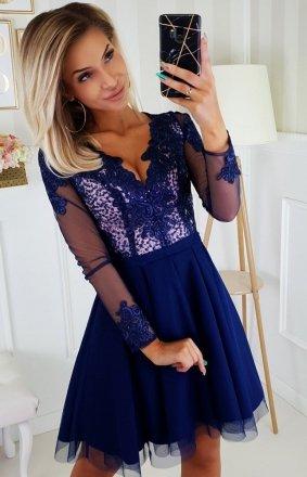Granatowa sukienka wieczorowa z tiulem 2160-11