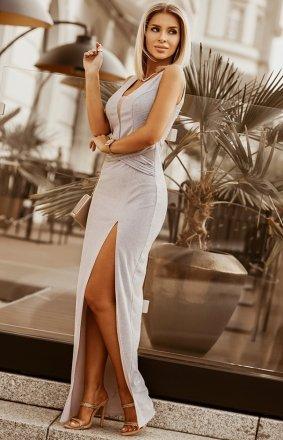 Wieczorowa długa sukienka z brokatem 2230