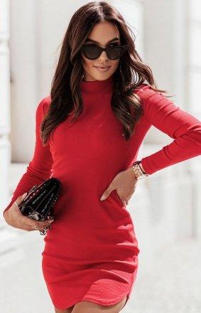 Prążkowana mini sukienka czerwona Marinessa
