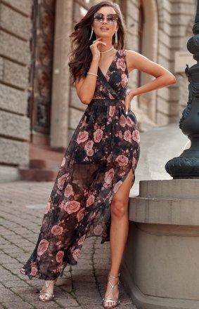 Szyfonowa długa sukienka letnia w kwiaty 0209 R67