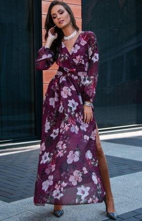 Długa sukienka w kwiaty 0219/D50