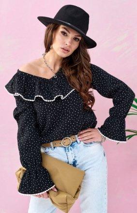 *Romantyczna bluzka z falbankami czarna 0111