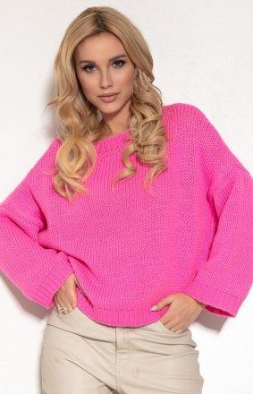 Oversizowy różowy sweter F1155