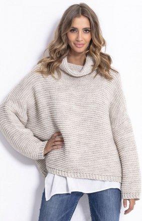 Oversizowy sweter z golfem Fobya F811 beżowy