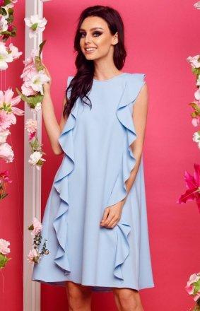 Oversizowa sukienka z falbanami błękitna L298