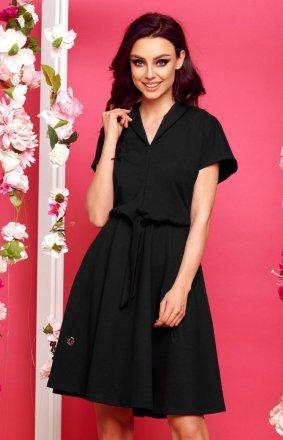 Wizytowa sukienka z rozkloszowanym dołem czarna L293